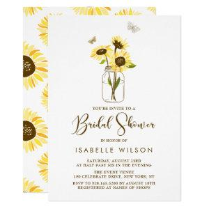 Sunflowers on Mason Jar Summer Bridal Shower Invitation starting at 2.15