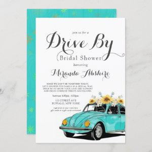 Sunflowers Turquoise Car Drive By Bridal Shower Invitation starting at 2.55