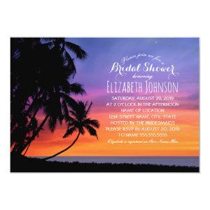 Sunset Palm Tree Beach Themed Bridal Shower Invitation starting at 2.35