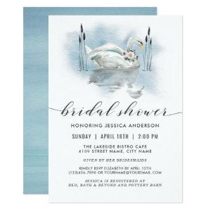 Swan on the Lake Watercolor Bridal Shower Invitation starting at 2.51