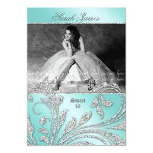 Sweet 16 Party Invite Glitter Leaves Mint Green starting at 2.66