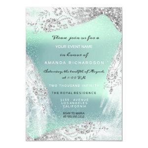 Sweet 16th Bridal Diamond Dress Gray Silver Mint Invitation starting at 2.10