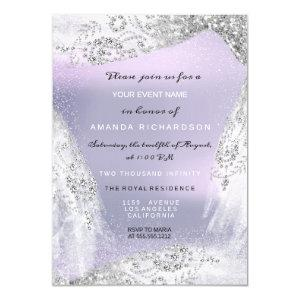 Sweet 16th Bridal Diamond Dress Gray Silver Purple Invitation starting at 2.10