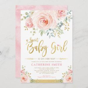 Sweet Baby Girl Blush Pink Gold Floral Baby Shower Invitation starting at 2.66