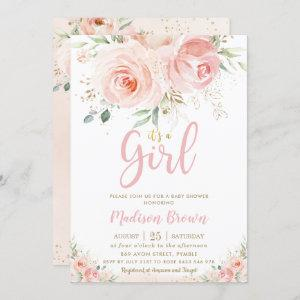 Sweet Blush Pink Floral Gold Girl Baby Shower Invitation starting at 2.40
