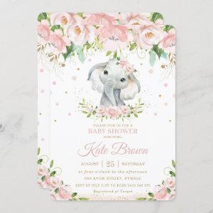 Sweet Elephant Blush Pink Floral Gold Baby Shower Invitation starting at 2.60