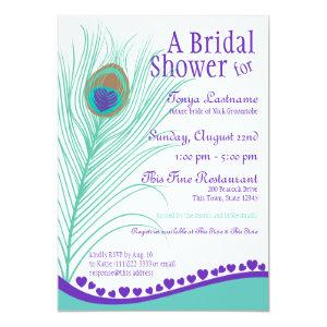 Sweetheart Peacock Feather Bridal Shower Invitation starting at 2.61