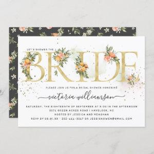 Tangerine Citrus and Gold Floral Bridal Shower Invitation starting at 2.40