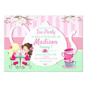 Tea Party Birthday Invitation / Girl / Pink Teal starting at 2.45