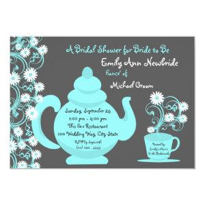 Tea Party Bridal Shower Aqua and Slate Invitation starting at 2.36
