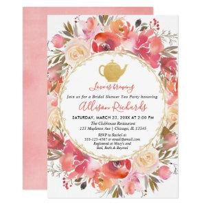 Tea party bridal shower coral blush pink gold invitation starting at 2.55