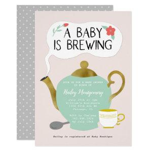 Tea Party Pink Baby Shower Baby Is Brewing Invitation starting at 2.40