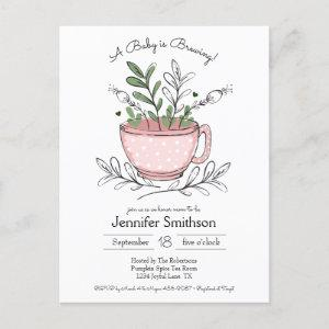 Teacup Floral Hand-drawn Tea Party Baby Shower Invitation Postcard starting at 1.70