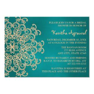 Teal and Gold Indian Inspired Bridal Shower Invitation starting at 2.66