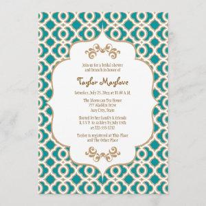 Teal and Gold Moroccan Bridal Shower Invites starting at 2.66