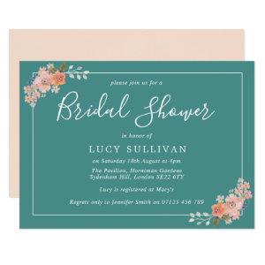 Teal and Peach Watercolor Floral Bridal Shower Invitation starting at 2.51