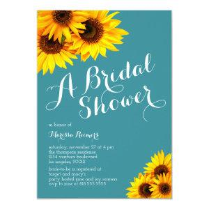 Teal and Yellow Sunflowers Bridal Shower Invitation starting at 2.40