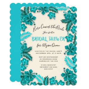 Teal Aqua Hibiscus Tropical Bridal Shower Invite starting at 2.80