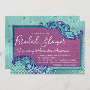 Teal Blue and Purple Mermaid Scales Bridal Shower Invitation starting at 2.51