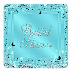 Teal Blue Black White Butterfly Bridal Shower Invitation starting at 2.60