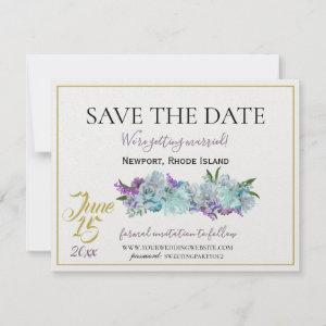 Teal Blue Bouquet Traditional Wedding Suite Save The Date starting at 3.70