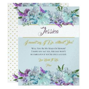 Teal Blue Bouquet Wedding Suite Be My Bridesmaid Invitation starting at 3.55