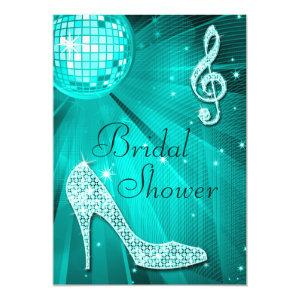 Teal Disco Ball and Sparkle Heels Bridal Shower Invitation starting at 2.77
