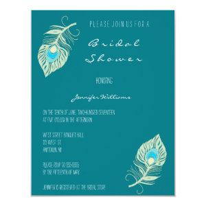 Teal peacock feather bridal shower invitations starting at 2.05