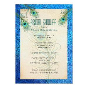 Teal Peacock Feathers Bridal Shower Invitation starting at 2.31