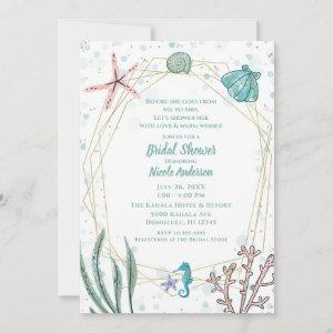 Teal & Pink Under the Sea Whimsical Bridal Shower  Invitation starting at 2.82