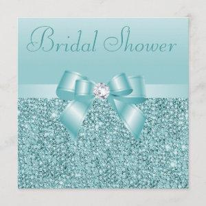 Teal Sequins, Bow & Diamond Bridal Shower Invitation starting at 2.51