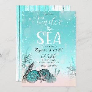 Teal Under the Sea Shells Beach Sweet 16 Party Invitation starting at 2.70