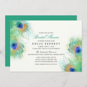 Teal Watercolor Peacock Feathers Bridal Shower Invitation starting at 2.66