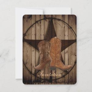 Texas Star Cowboy Boots  Country Western Wedding Invitation starting at 2.62