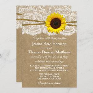 The Kraft, Lace & Sunflower Collection Invitations starting at 2.45