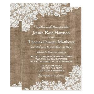 The Rustic Burlap & Vintage White Lace Collection Invitation starting at 2.51