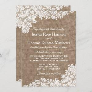 The Rustic Burlap & Vintage White Lace Collection starting at 2.45