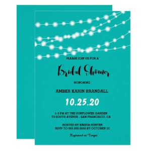 Tiffany Blue Glowing String Lights Bridal Shower Invitation starting at 2.70