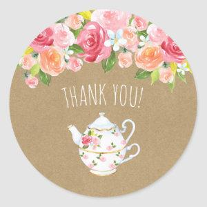 Time for tea bridal shower thank you favor classic round sticker starting at 6.65