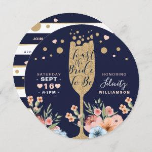 Toast The Bride - Champagne Floral Bridal Shower Invitation starting at 2.65