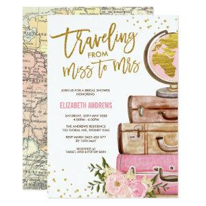 Travel Map Bridal Shower / Pink Gold Floral Invitation starting at 2.66