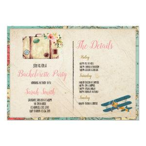 Travel theme bachelorette with Itinerary party tem Invitation starting at 2.56