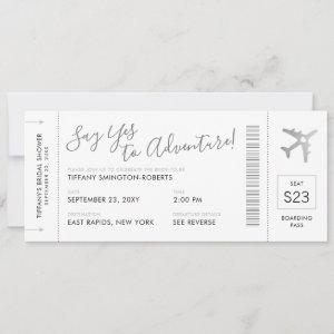 Travel Theme Silver Bridal Shower Boarding Pass Invitation starting at 2.87
