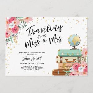 Travel themed Bridal shower invitation Miss to Mrs starting at 2.66