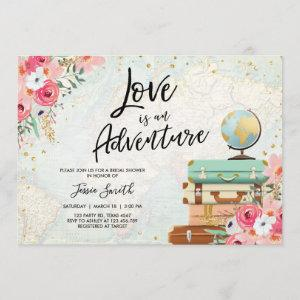 Travel themed Bridal shower Love is Adventure Pink Invitation starting at 2.66