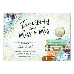 Traveling From Miss to Mrs Floral Bridal Shower Invitation starting at 2.66