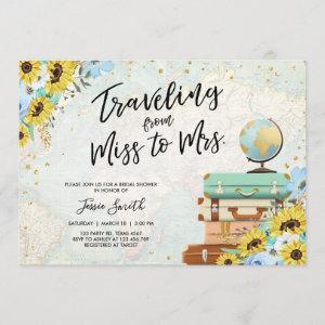 Traveling From Miss to Mrs Sunflower Bridal Shower Invitation starting at 2.66