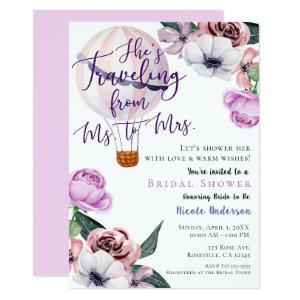 Traveling From Ms. to Mrs. Bridal Shower lavender Invitation starting at 2.56
