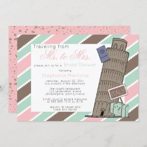 Traveling from Ms to Mrs Italy Theme Bridal Shower Invitation starting at 2.40