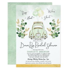 Traveling Greenery Gold Drive By Bridal Shower Invitation starting at 2.26